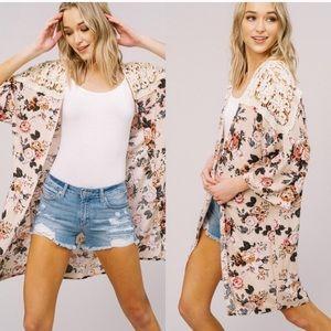 Tops - Open Kimono Floral Cardigan